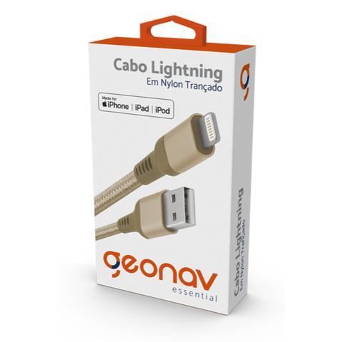 Imagem de Carregador iPhone com cabo Lightning original MFI Geonav em nylon reforçado