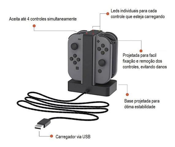 Imagem de Carregador Joy Con Switch Grip Base para 4 Controles Kp-5136