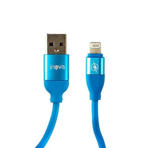 Imagem de Carregador Para Carro Mega Rápido 3.4A Com 2 Entradas USB Com Cabo Tipo Iphone Azul Ciano CAR-2106D - Inova
