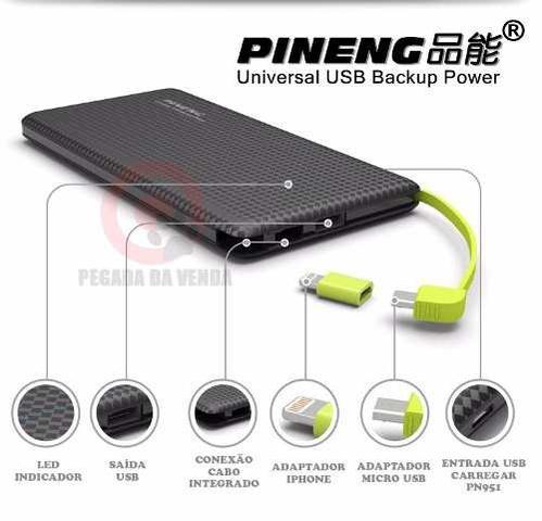 Imagem de Carregador Pineng Pn951 Preto C Adaptador Iphone 5/6/7