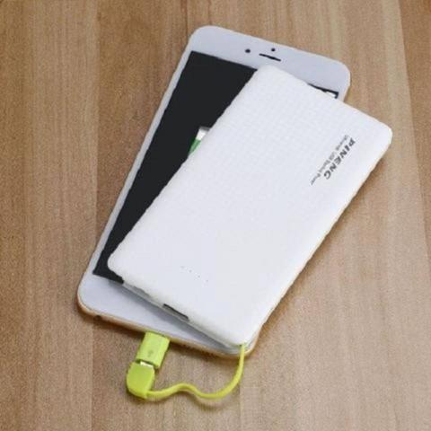Imagem de Carregador portatil pineng 10000mah slim branco compativel iphone 6, 7 e 8 plus