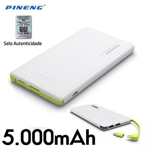 Imagem de Carregador portatil pineng 5000mah slim branco compativel iphone 7 / 7s / 8
