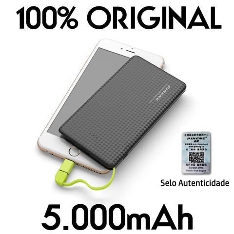 Imagem de Carregador portatil pineng 5000mah slim preto compativel iphone 7 / 7s