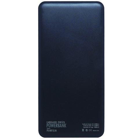 Imagem de Carregador Portátil Power Bank Display Led Bateria 10000mAh Celular Tablet Usb PB-M81 Slim Preto