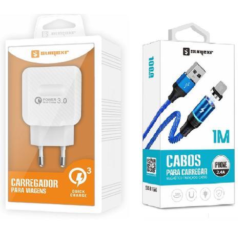 Imagem de Carregador Rápido + Cabo Magnético Para Celular I Phone I6, i6 Plus 7, X,10