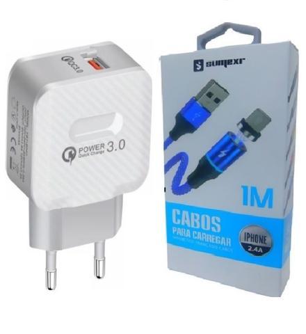 Imagem de Carregador Rápido + Cabo Magnético Sumexr para Celular I Phone I6, i6 Plus 7, X