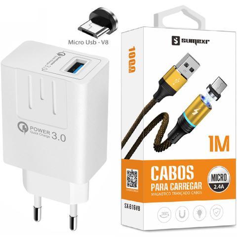 Imagem de Carregador Turbo + Cabo Magnético Micro Usb V8 Compativel com Celular Samsung  j4 j5 j7 Prime