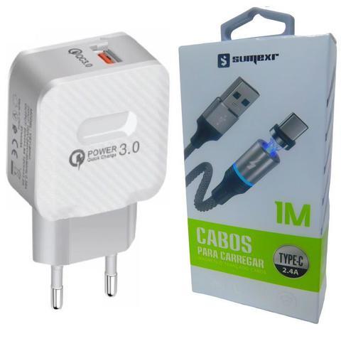 Imagem de Carregador Turbo + Cabo Magnético P/ Samsung S8, S9, S10