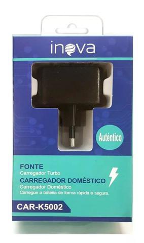 Imagem de Carregador Turbo Inova 2.1A USB Car-K5002