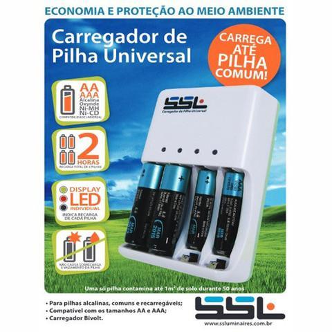 Imagem de Carregador Universal SSL para pilhas Comum, Zinco, Alcalinas 1.5v e Recarregáveis 1.2v Aa Aaa Bivolt