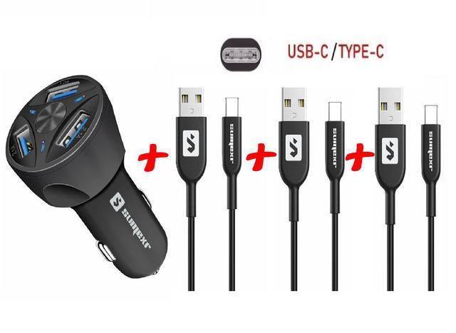 Imagem de Carregador Veicular + 3 Cabos USB Tipo C Sumexr para Celular Samsung S8, S9, S10 Plus