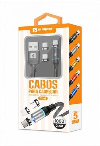 Imagem de Carregador Veicular + Cabo Magnético 3 em 1 Original Sumexr Para Celular Samsung S8, S8 Plus, S9, S9 Plus