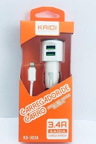 Imagem de Carregador Veicular Kaidi Original 3.4A 2 Usb Para Iphone 5 6S Plus 7 8