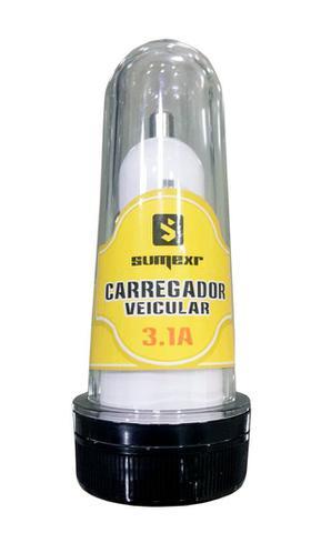 Imagem de Carregador Veicular Original Sumexr 3.1A 2 portas USB Para Celular Samsung S8, S8 Plus, S9, S9 Plus