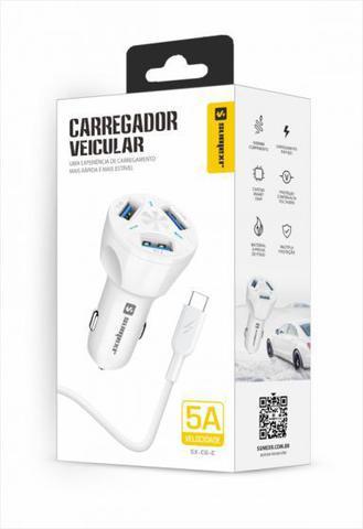 Imagem de Carregador Veicular Turbo 5A Original Sumexr com 3 Entradas USB e Cabo 1M Tipo C Para Celular Samsung S8, S8 Plus, S9, S