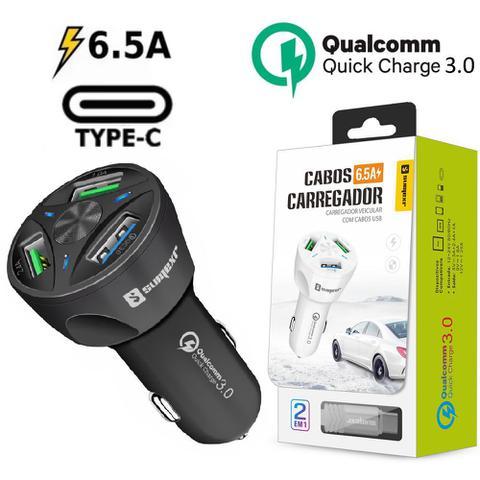 Imagem de Carregador Veicular Turbo Tipo C Preto Sumexr Para Celular Samsung S8, S8 Plus, S9, S9 Plus