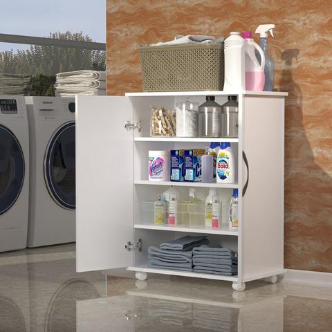 Imagem de Carrinho Auxiliar 2 Portas Produtos Limpeza Pano de Chão Lavanderia