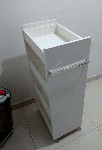Imagem de Carrinho Auxiliar P/ Cabeleireiros Estética Em Mdf com 4 BANDEJAS