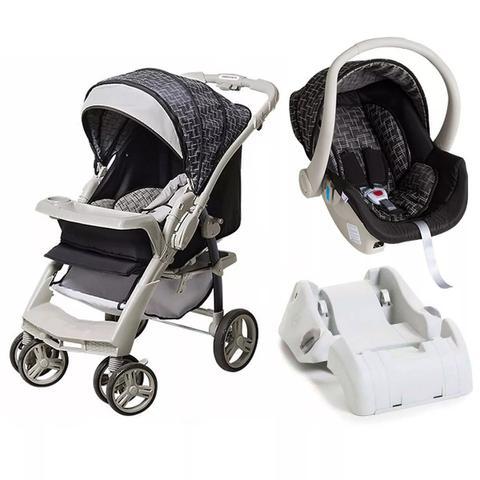 Imagem de Carrinho De Bebê TS Optimus Preto/Cinza com Bebê Conforto + Base - Galzerano