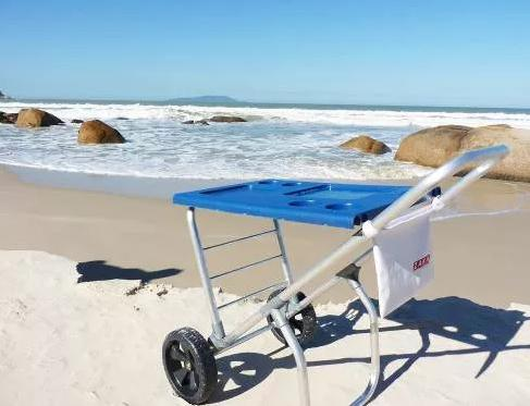 Imagem de Carrinho De Praia Smart Car Zaka Que Vira Mesa C/ Avanço Para Caixa Térmica