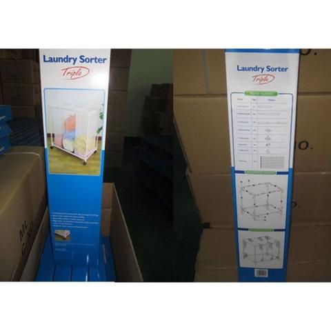 Imagem de Carrinho lavanderia com 3 cesto roupeiro organizador de roupas sujas com rodinha branco luxo