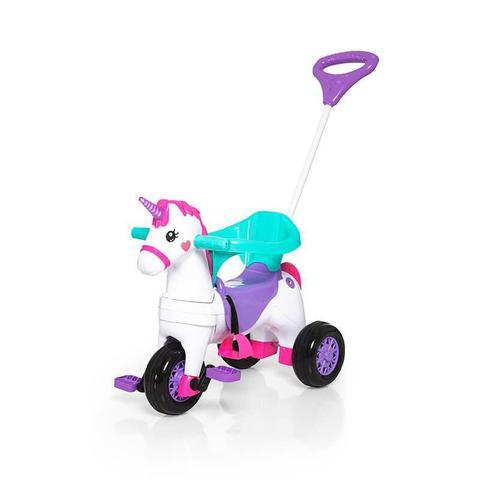Imagem de Carrinho Motoca Triciclo Unicórnio Poney Fantasy Rosa Calesita Menina