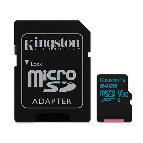 Imagem de Cartão de Memória 64GB Classe 10 Kingston SDCG2/64GB 90R/45W Micro SDXC 4K Drone Câmera