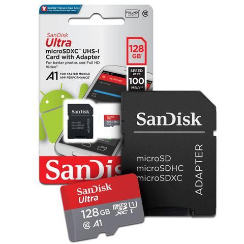 Imagem de Cartão de Memória Sandisk Micro SD 128GB Ultra Speed 100MB/S 667X