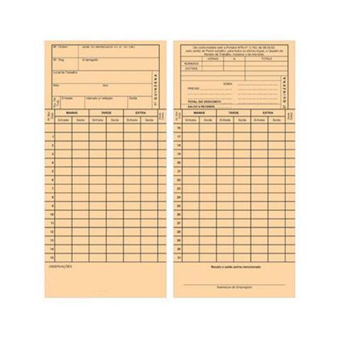 Imagem de Cartão de Ponto Mensal Cor de Palha com 100