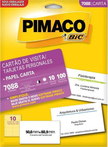 Imagem de Cartao de Visita 7088 Carta 10 FLS 50.8 X 88.9 CT.C/100 Pimaco