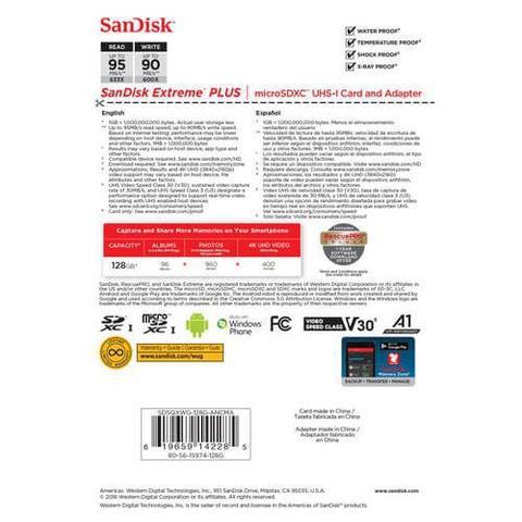 Imagem de Cartão MicroSDXC Sandisk Extreme Pro 128Gb de 95Mb/s Classe10 U3 V30