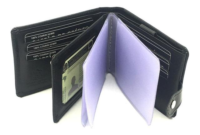 Imagem de Carteira Masculina Couro com porta cartões cédulas rg cnh moedas - Kartmen