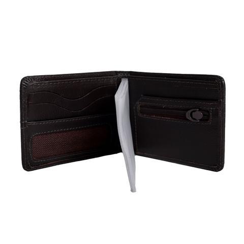 Imagem de Carteira masculina couro fino pequena com detalhe em lona e porta cartão