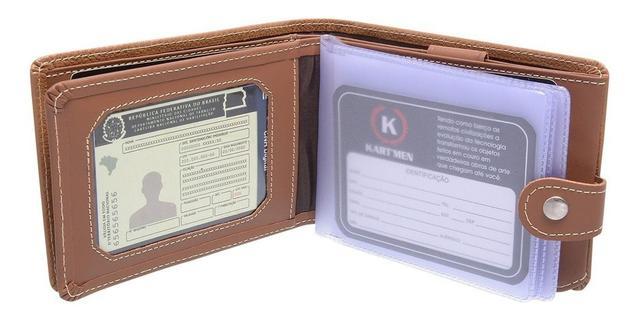 Imagem de Carteiras Masculina Couro com porta cartões cédulas cnh moedas  chaveiro - 560BOL kartmen