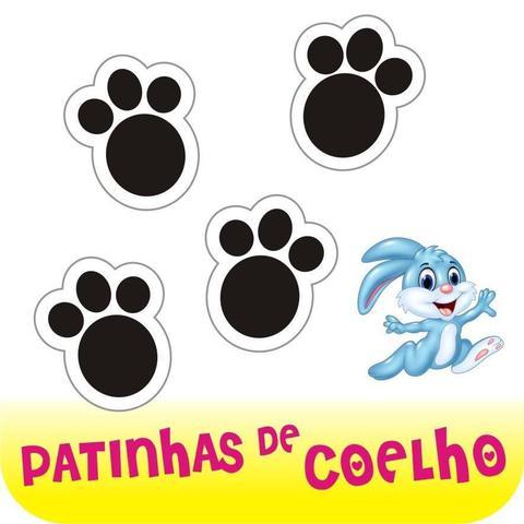 Imagem de Cartela com 25 Adesivos - Patinhas De Coelho - Páscoa - Pegadas Em Vinil
