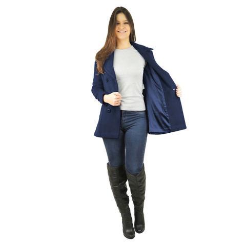 Imagem de Casaco Feminino Trench Coat Viena em Lã Batida - Azul Marinho