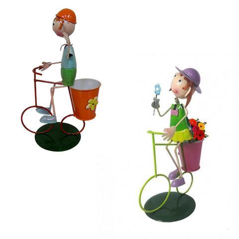 Imagem de Casal 2 Bonecos Enfeite Bicicleta Casa Jardim Decoracao