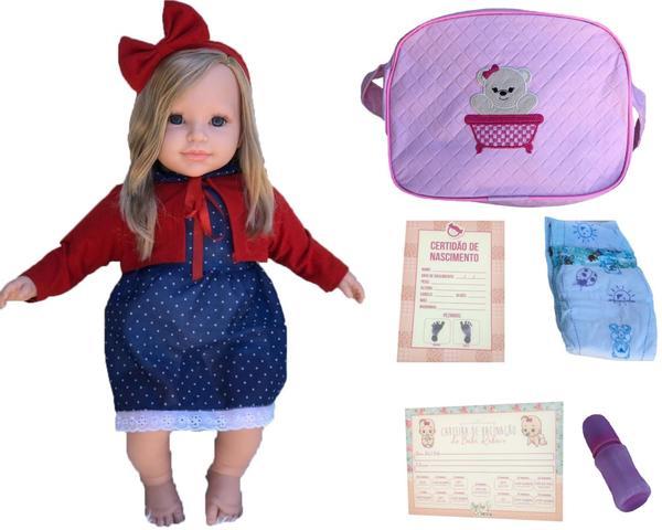 Imagem de Casal de Gêmeos Bebê Tipo Boneca Reborn Loiros com Acessórios e Bolsa