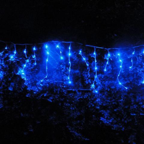 Imagem de Cascata Luminosa 150 LEDs Azul 110v 3,6m Fio Branco 1313
