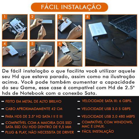 Imagem de Case Usb 3.0 Hd Externo 2.5 Metal Notebook Console Pc