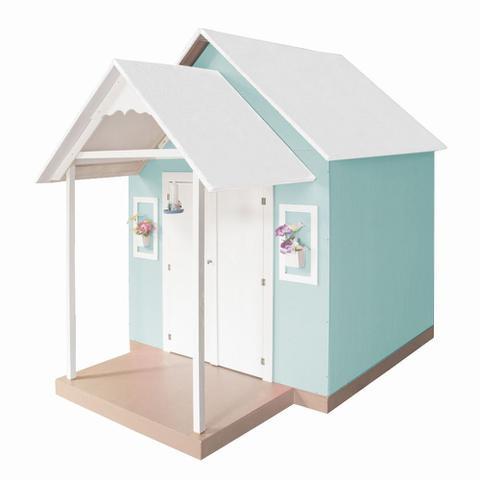 Imagem de Casinha de Brinquedo com Telhado Branco/Verde Água - Criança Feliz