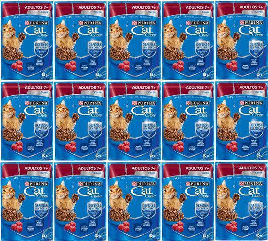 Imagem de CAT CHOW SACHE 7+ 85g CAIXA COM 15 UNIDADES