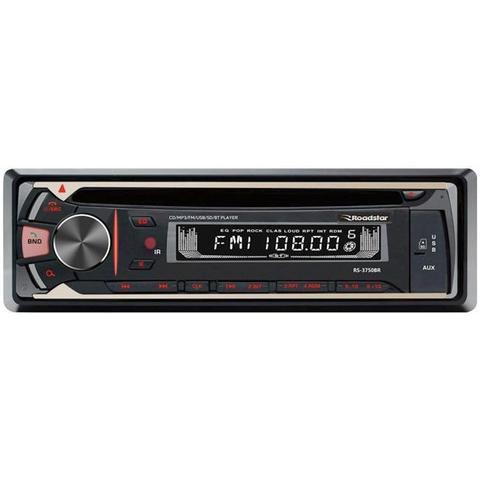 Imagem de CD Player Automotivo Roadstar MP3 com Bluetooth Painel Frontal Fixo Display Lcd Black  White