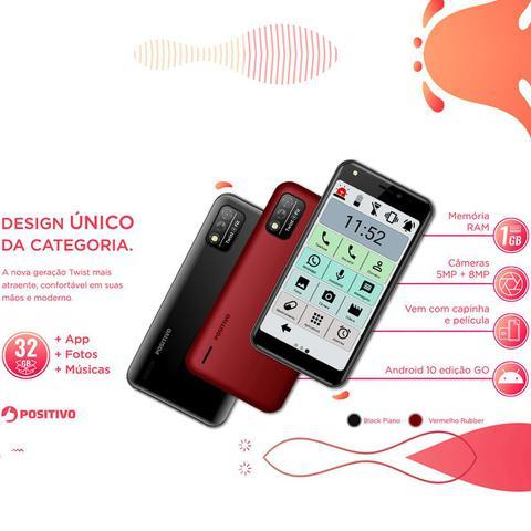 Imagem de Celular Do Idoso Positivo Letras Grandes 32gb Sos Vermelho