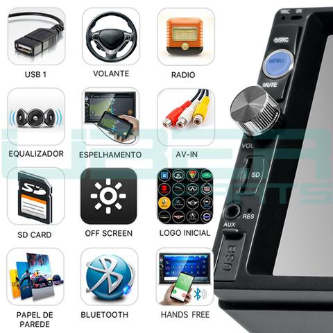 Imagem de Central Multimídia Mp5 universal  Bluetooth USB SD Espelhamento Android e IOS