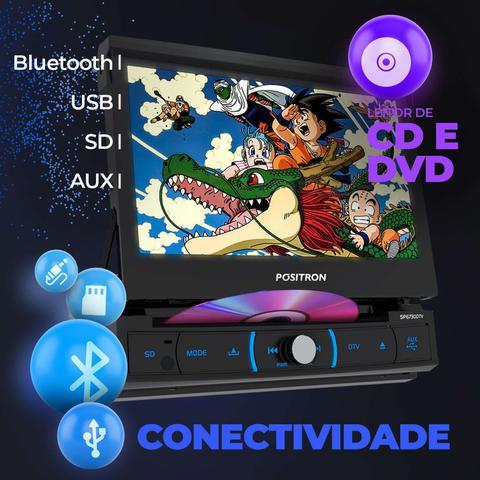 "Imagem de Central Multimidia Retrátil Pósitron SP6730DTV 7"" 1 Din Espelhamento Android Bluetooth DVD MP3 USB"