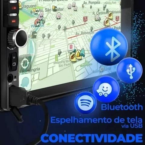 Imagem de Central Multimidia Universal Android e Ios Bluetooth 2 Din + Câmera de Ré