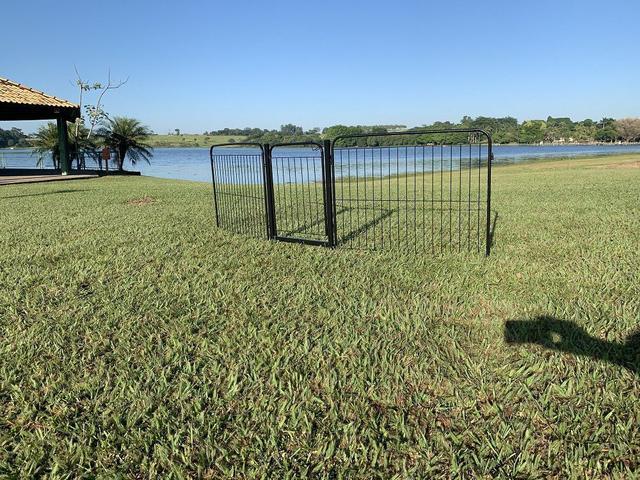 Imagem de Cercado Cães Canil Pet Util 2/90 Com Portão e Kit Preto