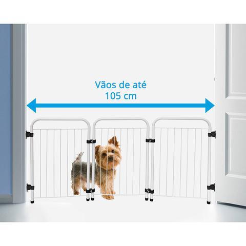 Imagem de Cercado Cercadinho Pet Cachorro Portátil Dobrável Branco