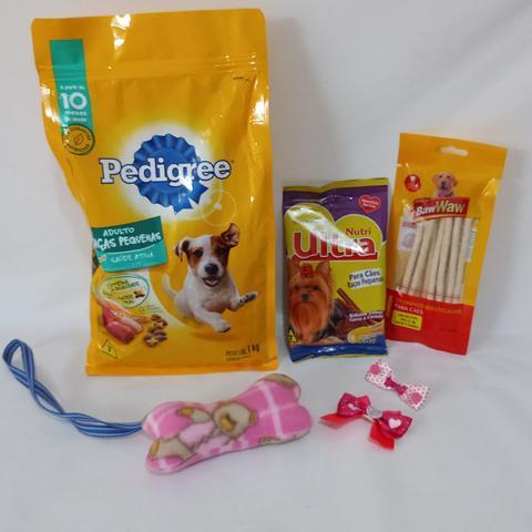 Imagem de Cesta Básica Pet para cachorro - Ração, petisco e acessórios
